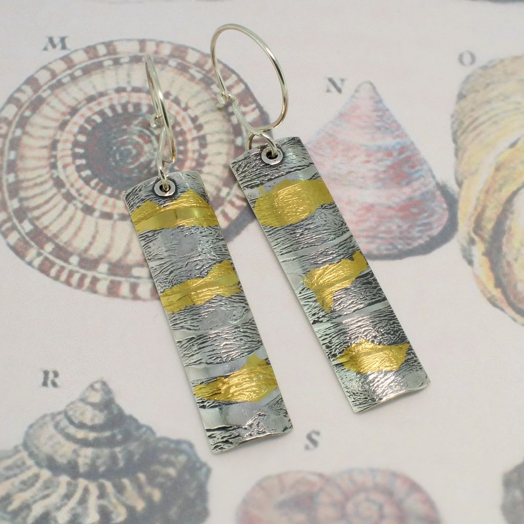 Silver and gold earrings long  razor shell design medium size